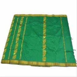 Green And Golden Apoorva Silk Saree, Length: 5.5 m (separate blouse piece)