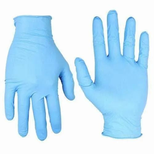 Blue Full Finger Disposable Examination Gloves, Size: Free Size