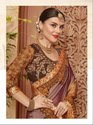 Shaded Brown Embroidered Silk Saree