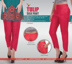 Skylark Garments Silk taffeta Tulip Silk Pant, Waist Size: XXL(36)