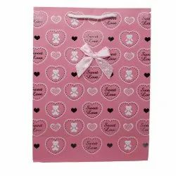 Paper Bags for Return Gifts Weddings and Birthdays Love and Ribbon Design (Pack of 12) - Pink