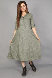 Neels Printed Green Flared Rayon Dress, Size: S, M, L & Xl