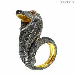 Snake Diamond SIlver Ring