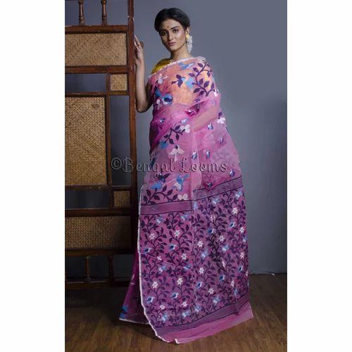 cd6bdf5110f7b Jamdani Sarees - Pure Handloom Khadi Silk Jamdani Saree in White and ...