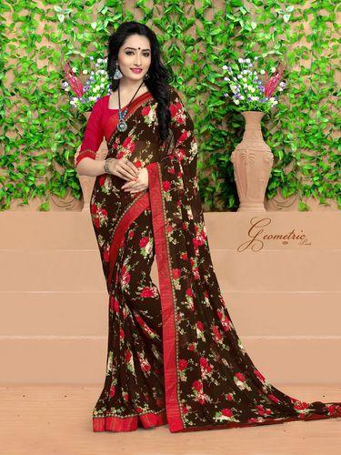 a932c3c81f New Gorgeous Brown And Red Floral Printed Saree, Flower Print Saree ...