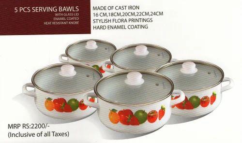 Floral Design Cast Iron Serving Bowls Set Of 5 खन रखन