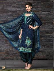 Cotton Glace Suits With Chinnon Dupatta