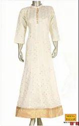 Cotton Casual Wear Cream Kota Anarkali Kurti, Wash Care: Dry clean