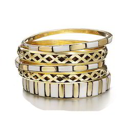 Round Golden & White Fashionable Bangle Set