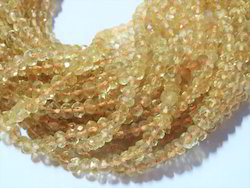 Natural Citrine Faceted Rondelle Semi Precious Stone Beads