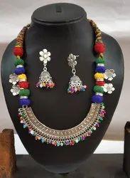 Multicolor Maitri Silver Oxidized Garba Threaded Necklace