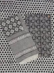 Floral Hand Block 3 Pcs Suit Set Cotton Cambric Fabric