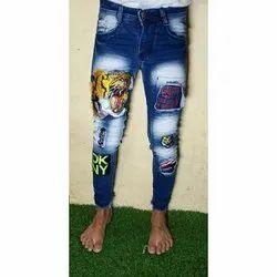 Mens Dark Blue Designer Patched Jeans