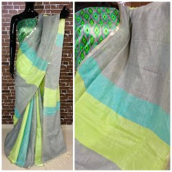 Plain Casual Linen Cotton Saree