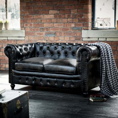 Lovely Shoreditch Leather Chesterfield 2 Seater Sofa Black