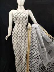 Kota Doria Dress Material, For Hand Block Print