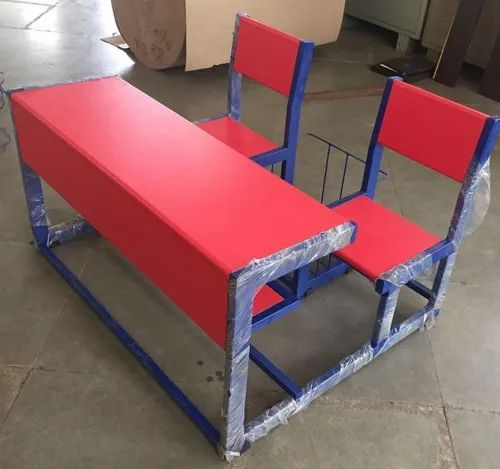 Brown Iron Two Seater School Bench