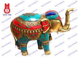 Elephant Standing Trunk Up with Stone Work & Wire Bead