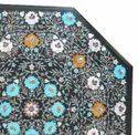 Black Marble Inlay Dining Table Top with Mother Of Pearl