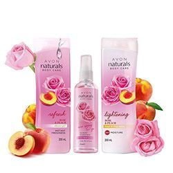 Avon Naturals Rose & Peach Whitening Body Lotion Shower Gel 3 in 1 Rose Hydr