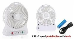 Plastic C48 - 3 Speed Portable Fan With Torch