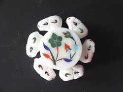Inlay Design White Marble ring  box
