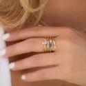 Fashionable Bezel Setting Gemstone Wedding Engagement Ring for Women