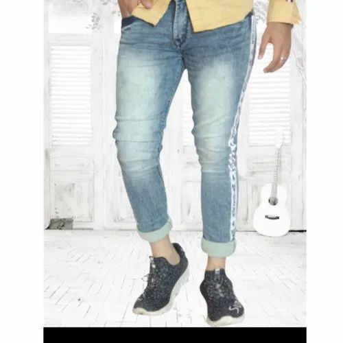 Mens Stylish Skin Fit Jeans  Side Tape Jeans