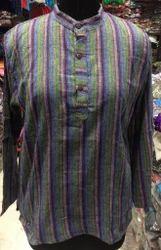 Men's Stripe Brush Cotton Kurta, Size: M - XL