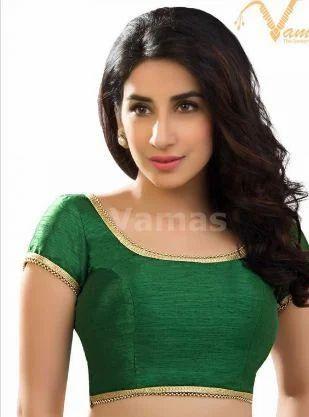 616235d2790951 Vamas Green Dupion Silk Back Open Blouse x-287-green at Rs 1595 ...