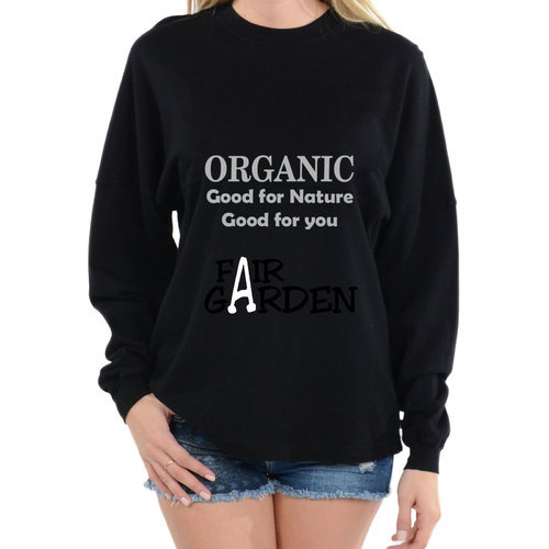 Organic Cotton Printed Black Full Sleeves T-Shirt