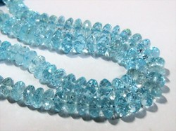 Blue Topaz Faceted Rondelle Stone Bead Strands