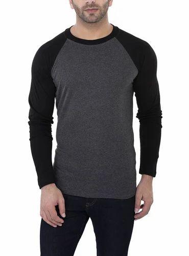 79e04fc19 OEM ZSOLT Black And Blue Mens Raglan Full Sleeves T-Shirt