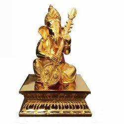 Gold Plated Ganesha With Veenai