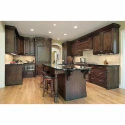 Walnut Color Modular Kitchen