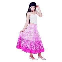 JaipurOnlineShop Cotton Rajasthani Bandhani Skirt, Size: Regular