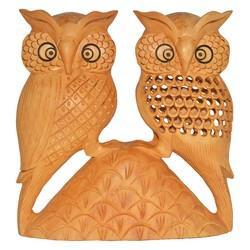 Wooden Side Face Owl Pair