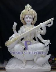 Gold Plated Marble Saraswati Statues
