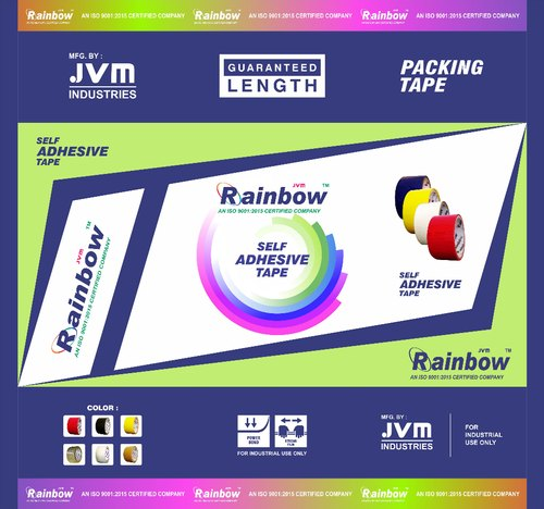 Rainbow 65m Printed BOPP Packaging Tape, Size: 1/2 inch, Packaging Type: Roll