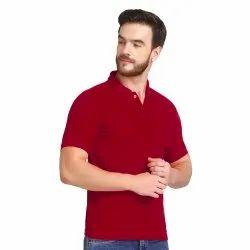 Plain Half Sleeve Mens Cotton Polo Neck T Shirts, Size: M-XXL