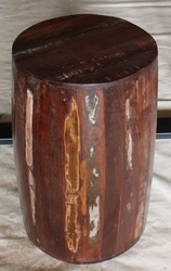 Recycle Wood Low Height Drum Stool for Cafe and Restaurant