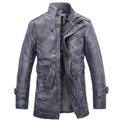 NaranjaSabor Winter Men's Leather Jackets Casual PU Coats Thermal Outerwear Faux Fur Fleece Jackets