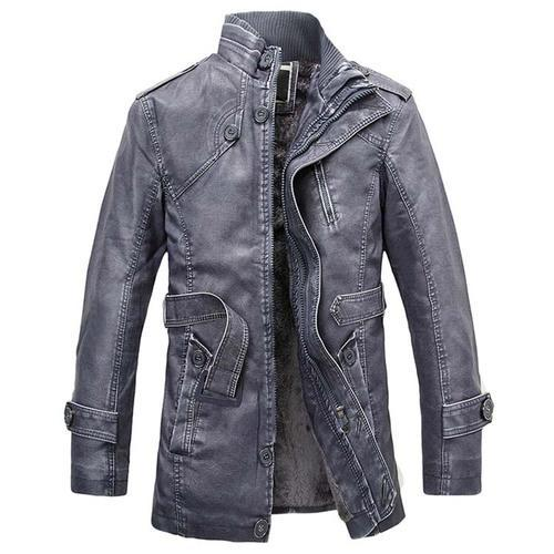 NaranjaSabor Winter Men  s Leather Jackets Casual PU Coats Thermal Outerwear  Faux Fur Fleece Jackets f799925df16
