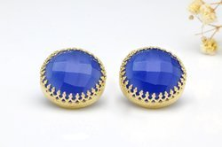 925 Sterling Silver Blue Chalcedony Gemstone Micron Gold Plated Earring Stud