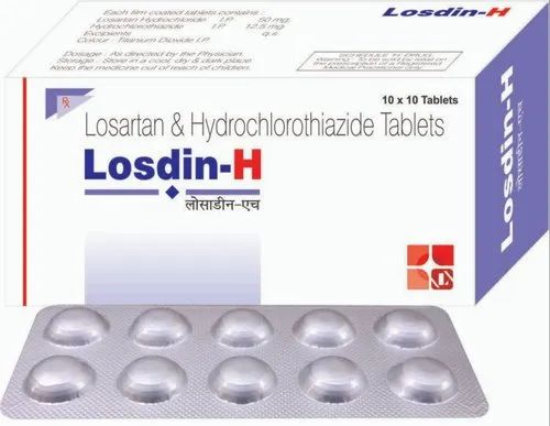 Losdin H Losartan and Hydrochlorothiazide Tablets, Packaging Type: Box