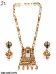 Priyaasi Gold Plated Peacock Inspired Necklace with Earrings