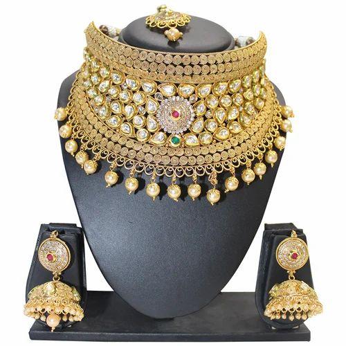 7b9ba8dc3cef41 Golden Broad Choker Necklace Set, Rs 3200 /piece, Bhairav Fancy ...