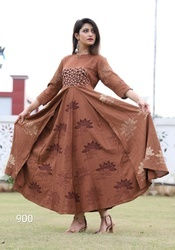 Ladies Brown Designer Frock Kurti