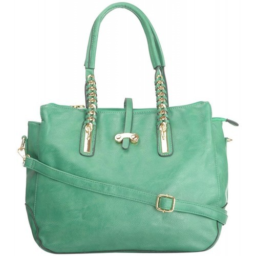 Green Plain SE_G_04 ShamsE Large Size PU Woman Handbag