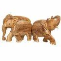 Wooden Meenakari Work Elephant Statue